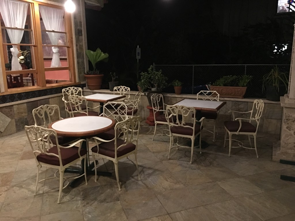 Three shaded tables with cool flagstone flooring are available out front for you and your four-legged dining guest!