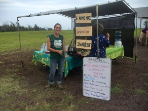 Hamakua Harvest farmers market manager Julia invites all friendly, leashed pets to this amazing community market! Mahalo Julia!