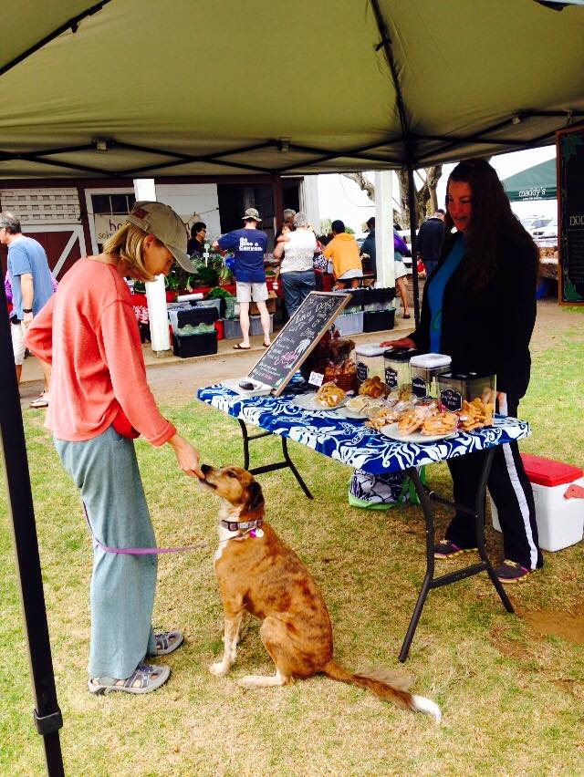 Lava Dogs Hawaii fan Meg Sibley feeds Lakshmi some dog treat samples at the Waimea Midweek Farmers Market. The market is open every Wednesday from 9am - 4pm.