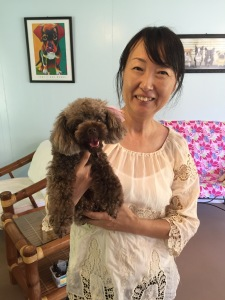 Pawfect Dog Grooming Owner/groomer Yuka Thompson with her cute as a button Azuki