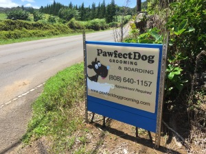 Pawfect Dog Grooming & Boarding is easy to find. They are located along Hawi Road between Kohala Mtn Road and Hawi town.