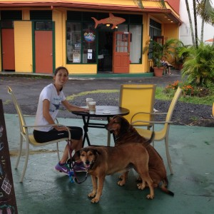 Marty with her pups Rileyjane and Honeygirl enjoying their Hilo Shark's coffee