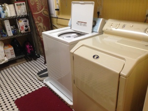 Excellent quality, full-size washer and dryer is shared with the adjacent unit.
