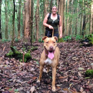 Lava Dogs Hawaii fan, Maura, with her Pittie girl, Nya, enjoying a hike on a Labor Day 2015 at Kalopa Horse Trail.