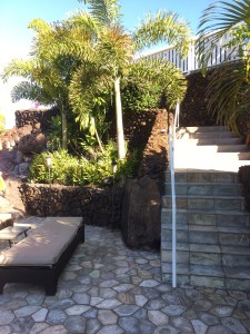 These are the stairs you will walk down to reach the pool and the Poolhouse.